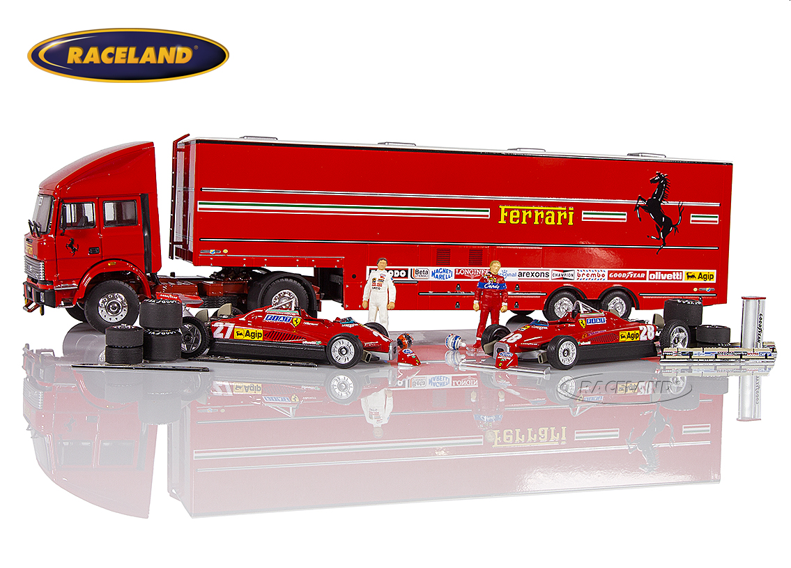 Gift set Ferrari F1 GP San Marino Imola 1982 paddocks with 2 models, race car carrier, parts and figurines