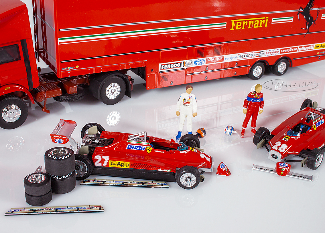 Gift set Ferrari F1 GP San Marino Imola 1982 paddocks with 2 models, race car carrier, parts and figurines Image 2