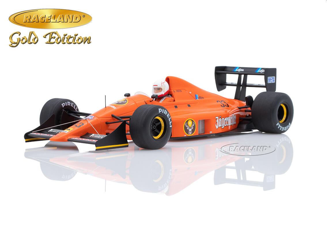 F1 EUROBRUN ER189 Judd Jägermeister 1989 Deutschland GP #33 Foitek Spark 1:18