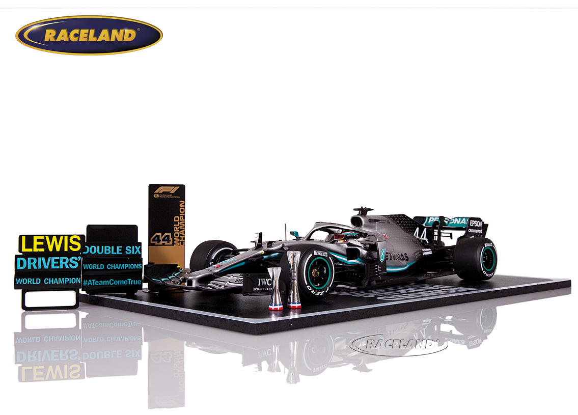 Mercedes AMG Petronas W10 F1 2° GP USA World Champion 2019 Lewis Hamilton with champion board and parking area