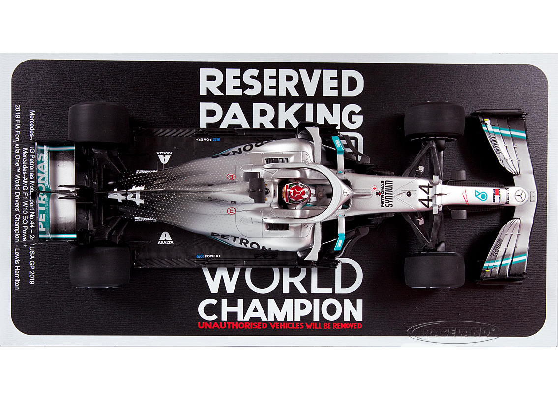 Mercedes AMG Petronas W10 F1 2° GP USA World Champion 2019 Lewis Hamilton with champion board and parking area Image 3
