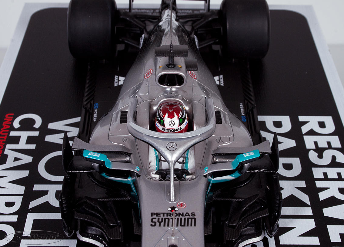 Mercedes AMG Petronas W10 F1 2° GP USA World Champion 2019 Lewis Hamilton with champion board and parking area Image 4