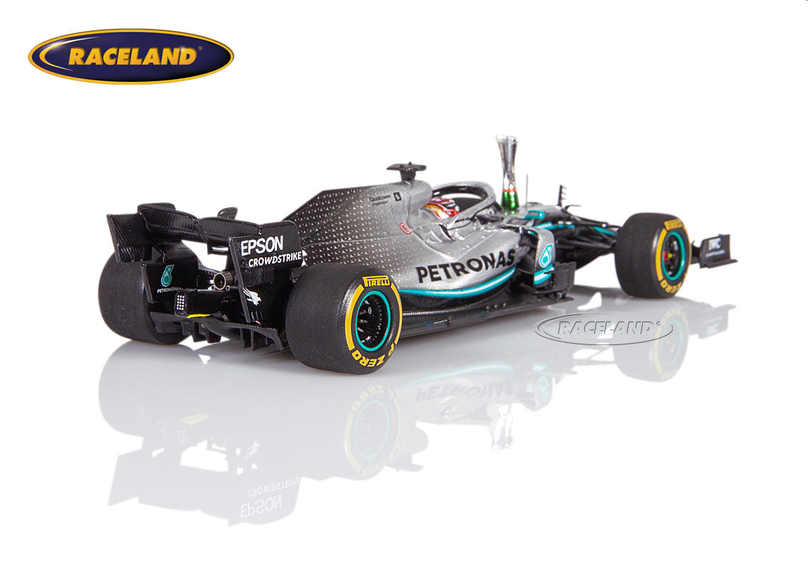Mercedes AMG Petronas W10 EQ Power+ F1 winner Chinese GP 1000th F1 GP 2019 Lewis Hamilton with trophy Image 2
