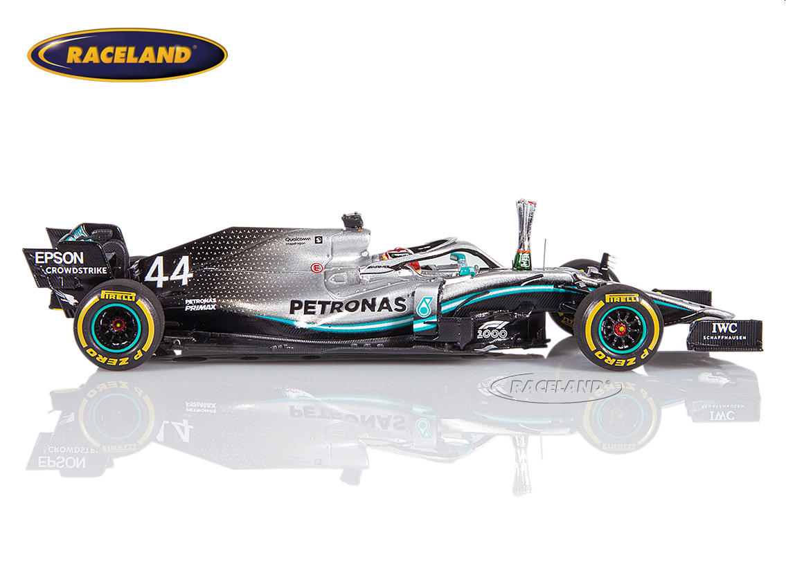 Mercedes AMG Petronas W10 EQ Power+ F1 winner Chinese GP 1000th F1 GP 2019 Lewis Hamilton with trophy Image 3