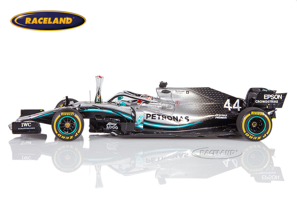 Mercedes AMG Petronas W10 EQ Power+ F1 winner Chinese GP 1000th F1 GP 2019 Lewis Hamilton with trophy Image 4
