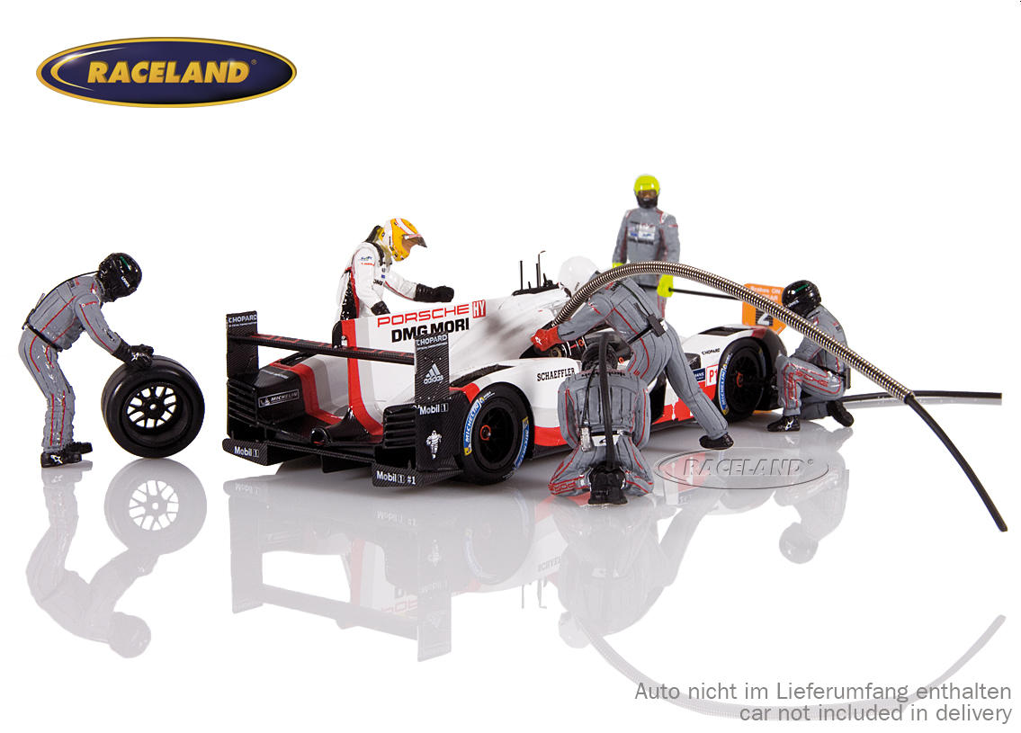 Figure set Porsche LMP1 Le Mans winner 2017 with 5 mechanics, driver Earl Bamber and accessories
