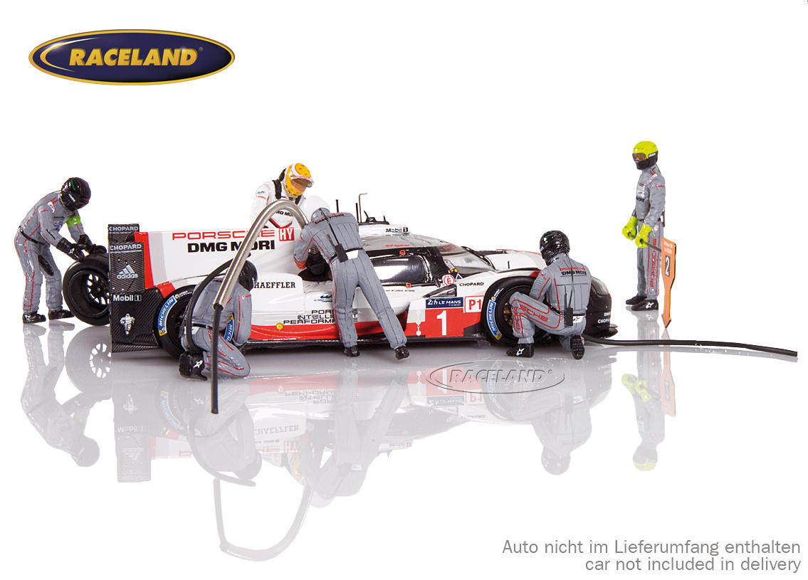 Figure set Porsche LMP1 Le Mans winner 2017 with 5 mechanics, driver Earl Bamber and accessories Image 2