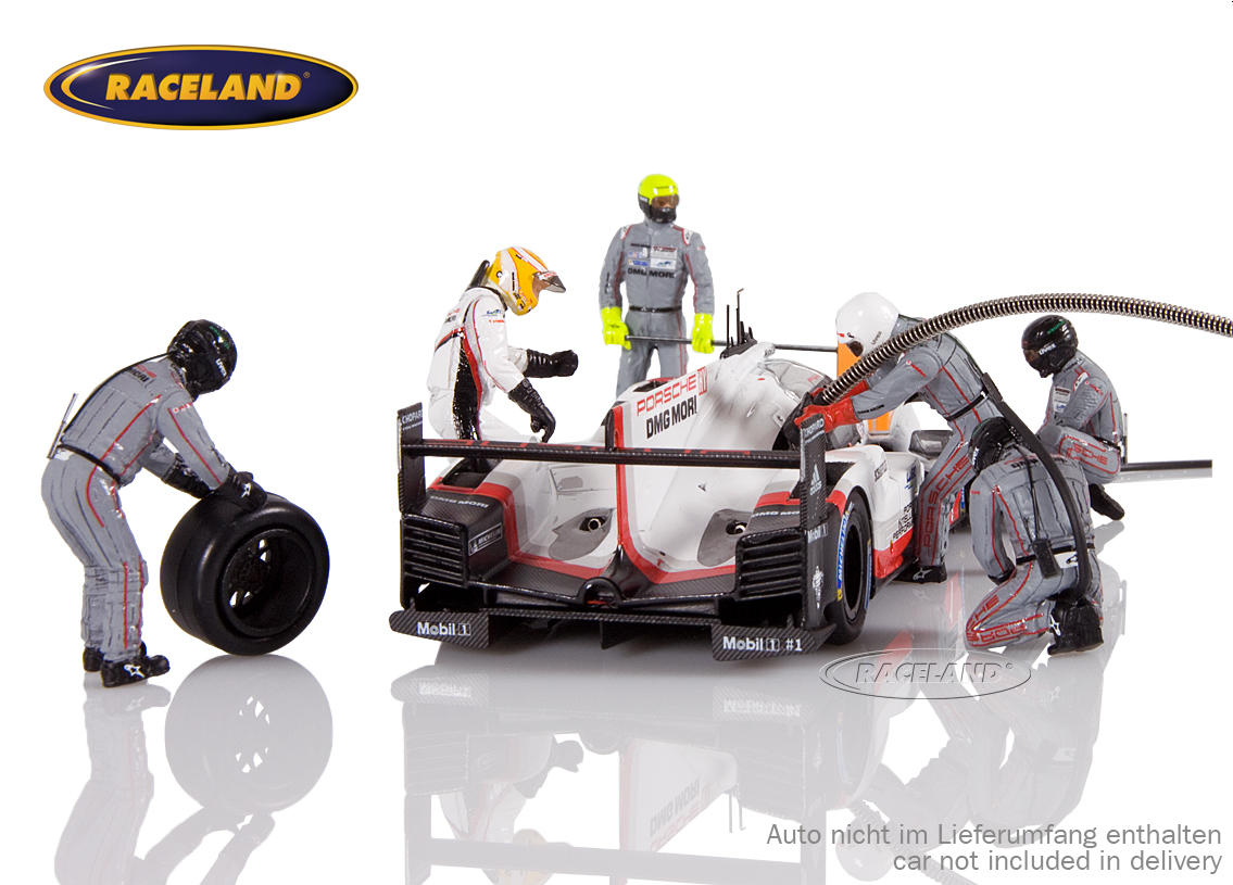 Figure set Porsche LMP1 Le Mans winner 2017 with 5 mechanics, driver Earl Bamber and accessories Image 3