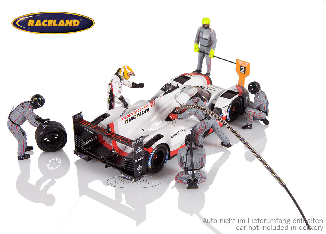 Figure set Porsche LMP1 Le Mans winner 2017 with 5 mechanics, driver Earl Bamber and accessories Image 4