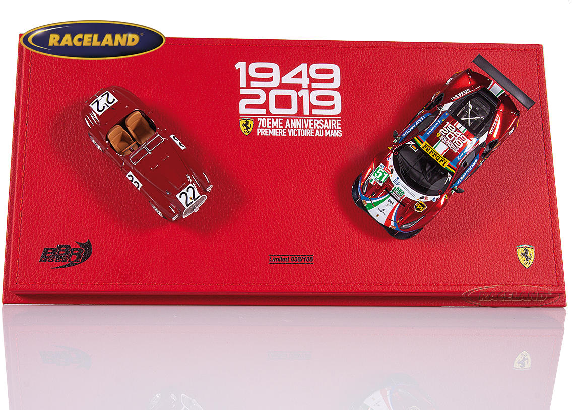Ferrari Le Mans winners gift set 1949-2019 with 2 models 166MM and 488 GTE Evo in exclusive display box
