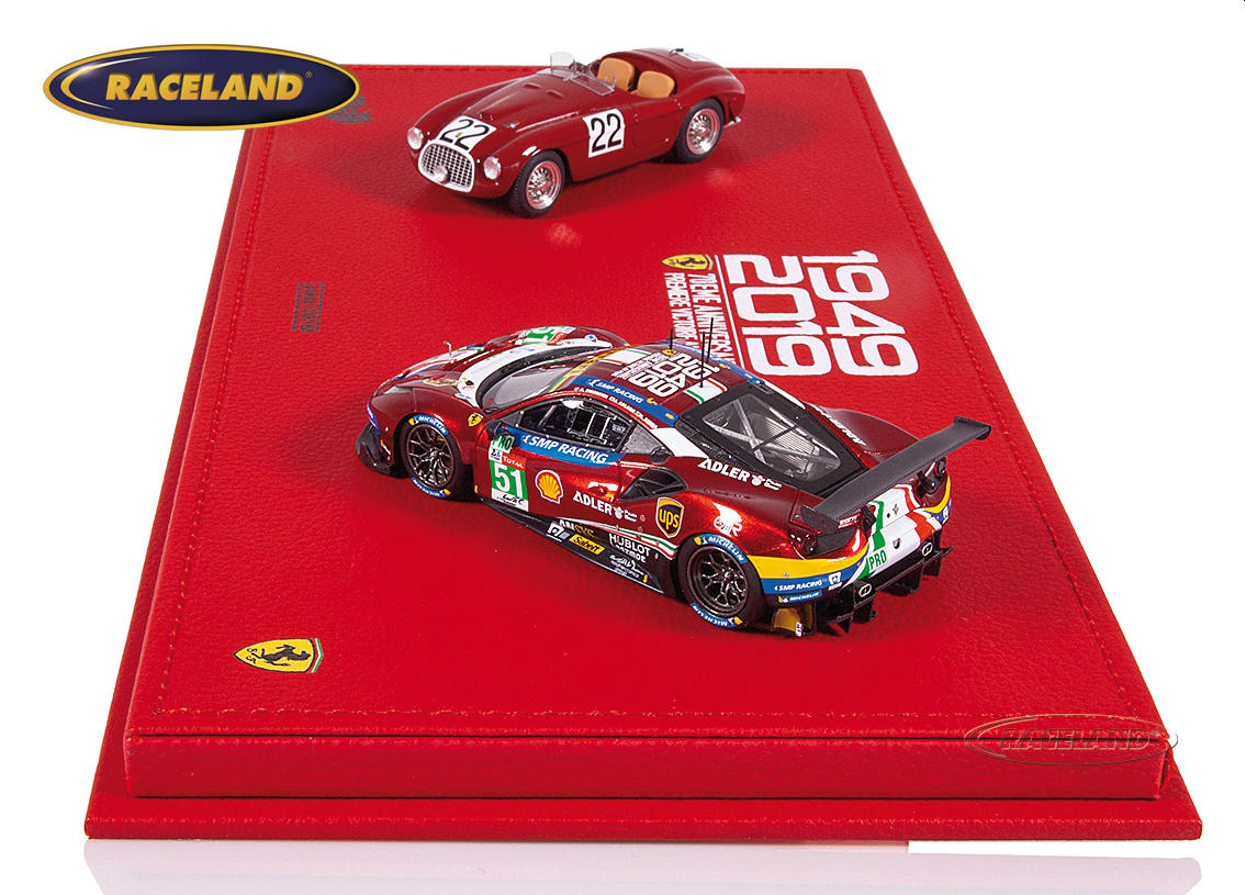 Ferrari Le Mans winners gift set 1949-2019 with 2 models 166MM and 488 GTE Evo in exclusive display box Image 4