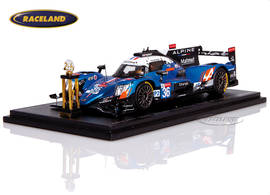Alpine A470 Gibson LMP2 winner LMP2 Le Mans 2018 with winner's trophy Lapierre/Negrao/Thiriet