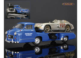 Mercedes-Benz race car carrier with Mercedes 300 SLR Karl Kling Mille Miglia 1955