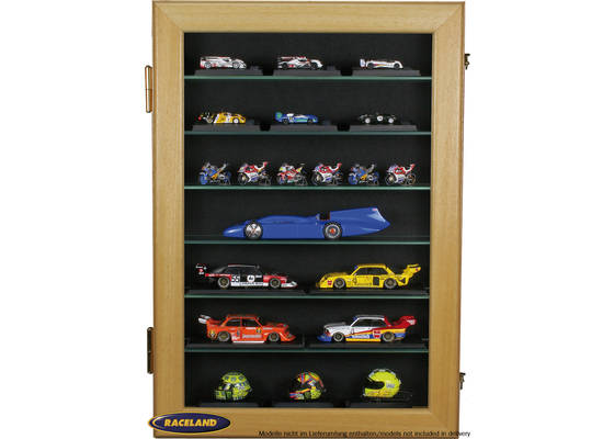 Model display cabinet M Raceland upright format, 100% dustproof, color limba wood